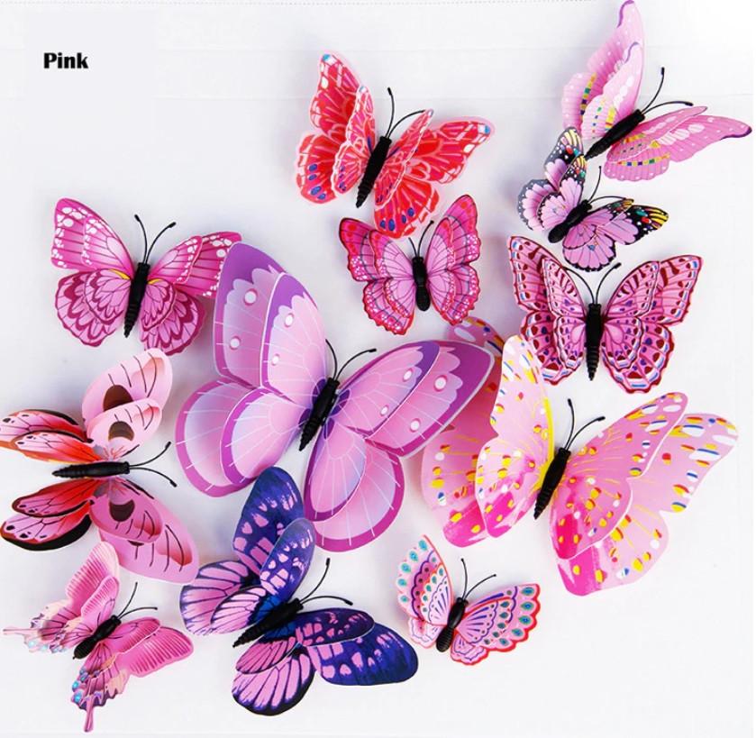 Бабочки 3D двойные на магните 12 шт. в комплекте, розовые