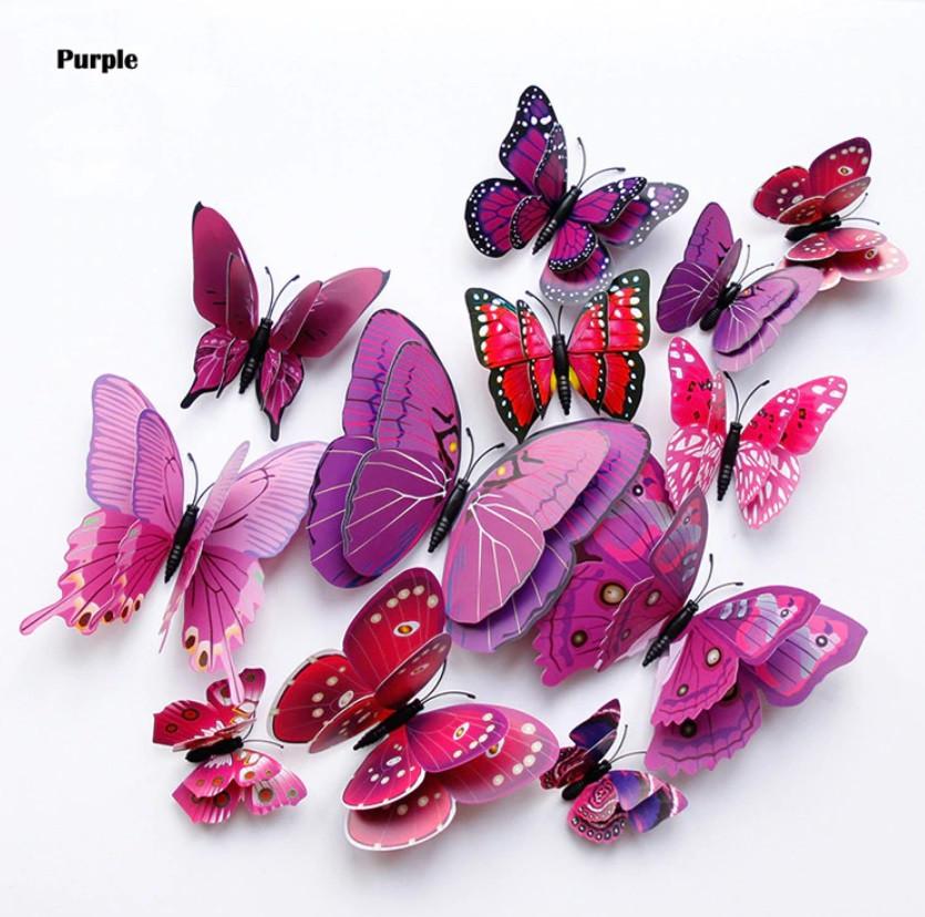 Бабочки 3D двойные на магните 12 шт. в комплекте, фиолетовые