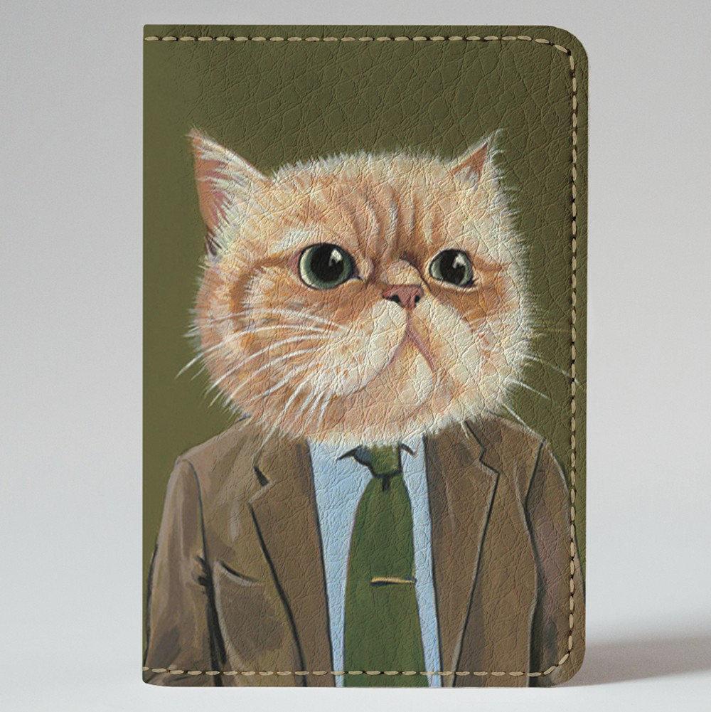 "Картхолдер на 4 отделения, ""Кот директор"", экокожа"