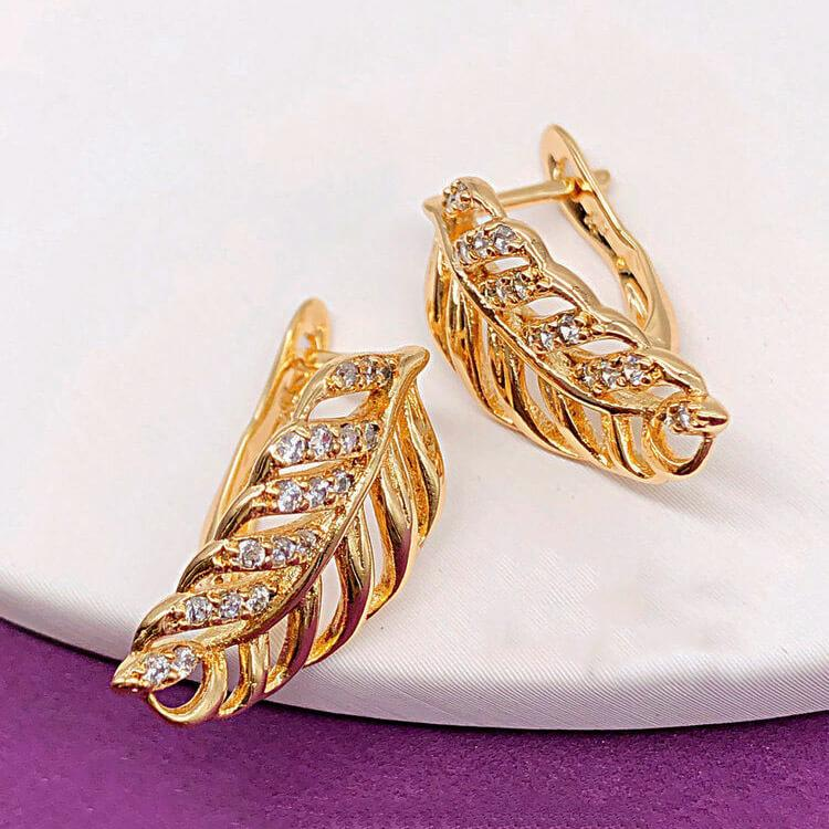 "Серьги Xuping Jewelry ""Лилиан"" медицинское золото, позолота 18К английский замок. А/В 4240"