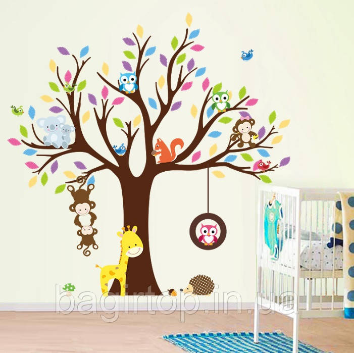 Интерьерная наклейка Дерево и зверята  (109х109см)