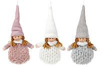 Мягкая новогодняя фигура-подвеска Девочка 10см, 3 вида
