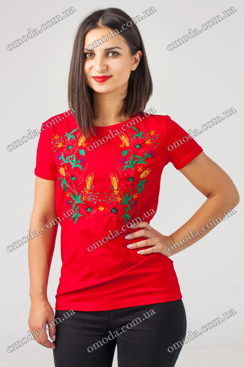 Женская вышитая футболка Мак колосок красная