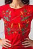Женская вышитая футболка Мак колосок красная, фото 2