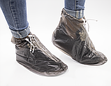 Бахилы для обуви от дождя, снега, грязи 2Life XL многоразовые, с молнией и шнурком-утяжкой Black (n-402), фото 3