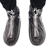Бахилы для обуви от дождя, снега, грязи 2Life XL многоразовые, с молнией и шнурком-утяжкой Black (n-402), фото 6
