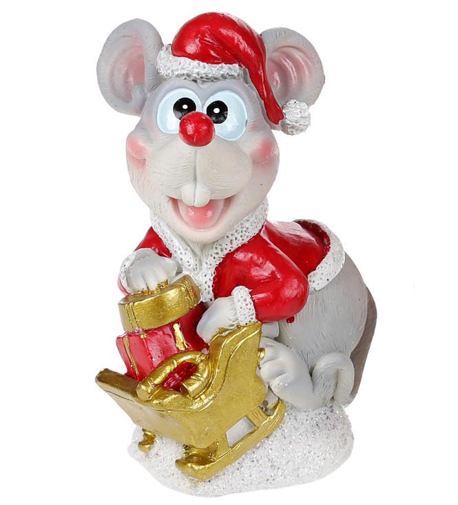 Декоративная фигурка-копилка Мышка в костюме Санты 13см