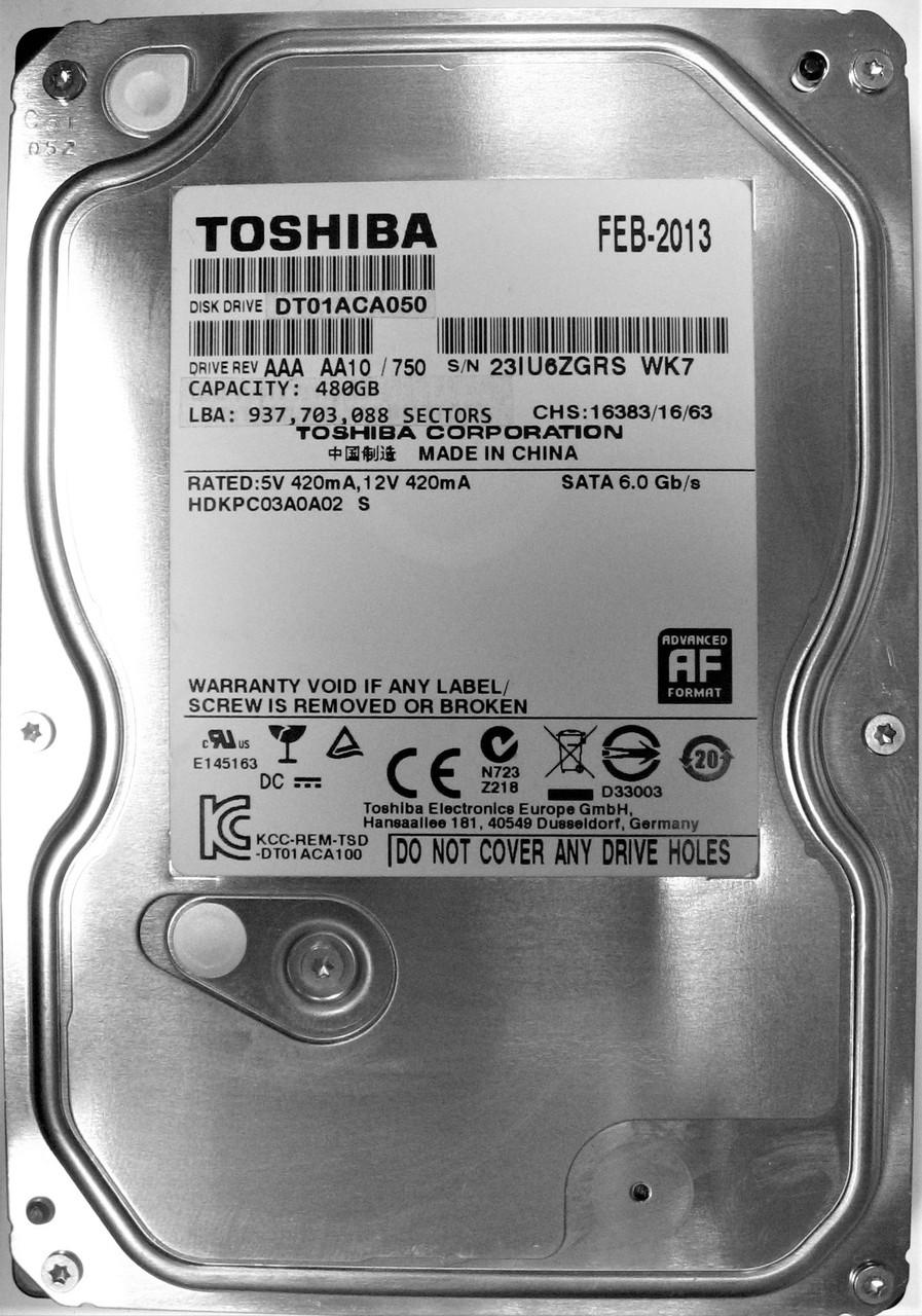 Жесткий диск HDD 480GB 7200rpm 32MB SATA III 3.5 Toshiba DT01ACA050 23IU6ZGRSWK7