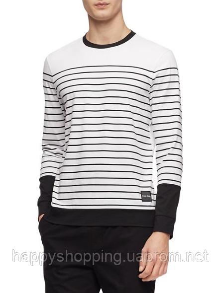Мужской оригинальный хлопковый  белый лонгслив в полоску Calvin Klein