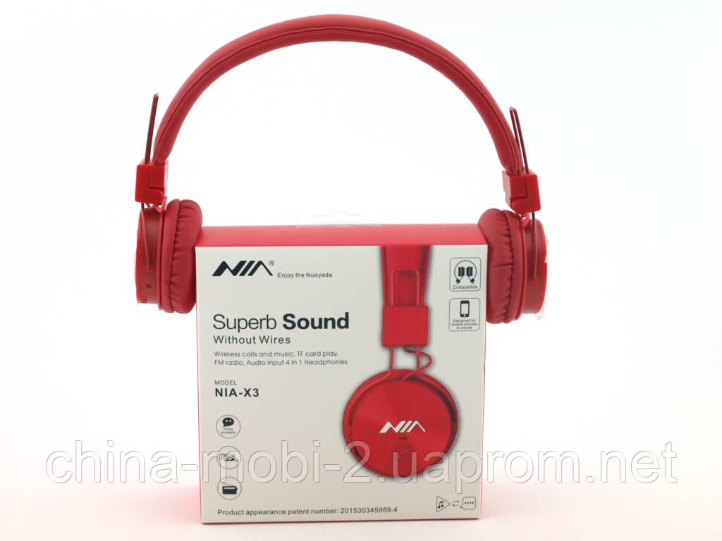 Nia-X3 Bluetooth наушники гарнитура с MP3 FM, красные