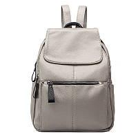 Рюкзак  женский городской кожаный  (серый)