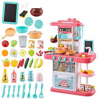 Большая детская игровая кухня 889-154 на 40 предметов, С КРАНА ТЕЧЕТ  ВОДА, ПАР, ЗВУК, СВЕТ (72х51,5х23,5 см.)