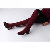 Бордовые замшевые ботфорты, фото 5