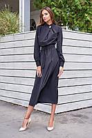 Невероятно Женственное Платье Миди Воротник Стойка Черное S-XL
