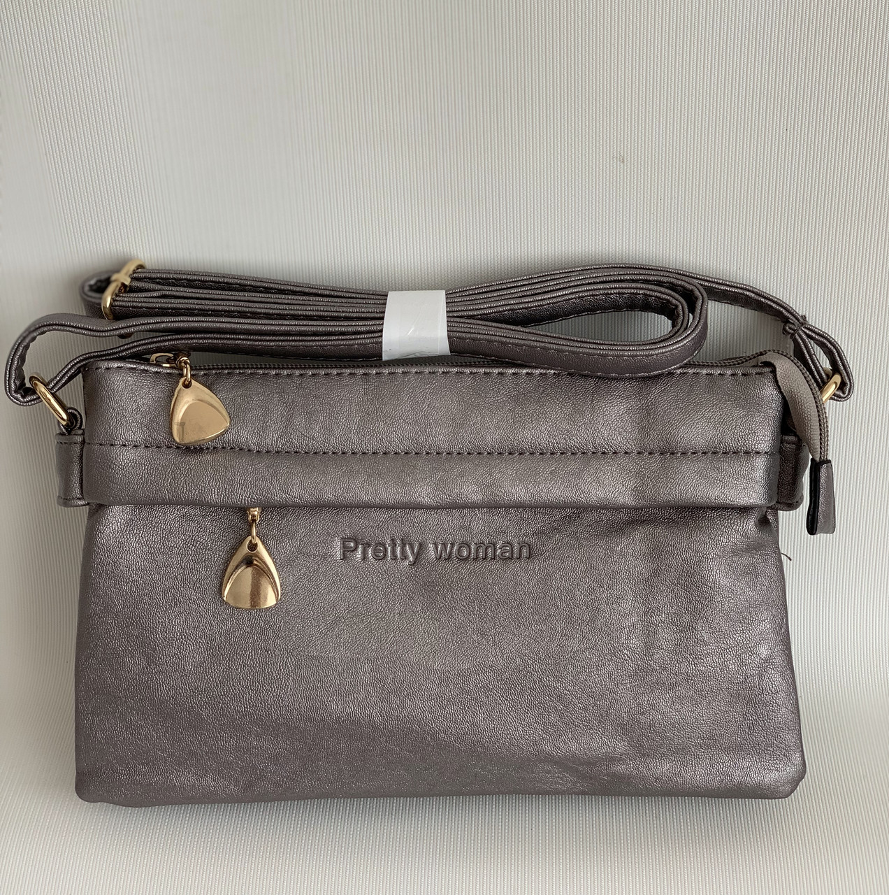 Женская маленькая сумочка клатч серебристого цвета через плечо Pretty woman