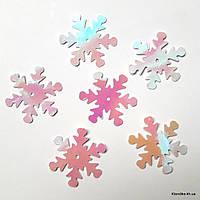 """Пайетки """"Снежинки"""", фольга, 25 мм, Цвет: AB Белый (100 шт.)"""