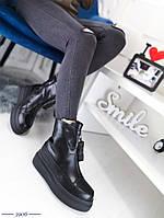 Женские зимние ботинки черного цвета, из эко кожи