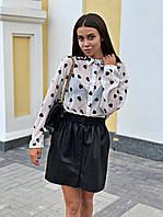Шифоновая блузка женская в сердечки