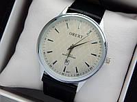 Чоловічі кварцові наручні годинники Orext (Орекст) на шкіряному ремінці, срібло, сірий циферблат - код 1579, фото 1