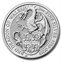 Серебряная монета The Red Dragon of Wales - Красный дракон Уэльса 2 унции