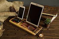 Органайзер из дерева аксессуар на рабочий офисный стол для ключей очков планшета телефона в подарок мужу шефу