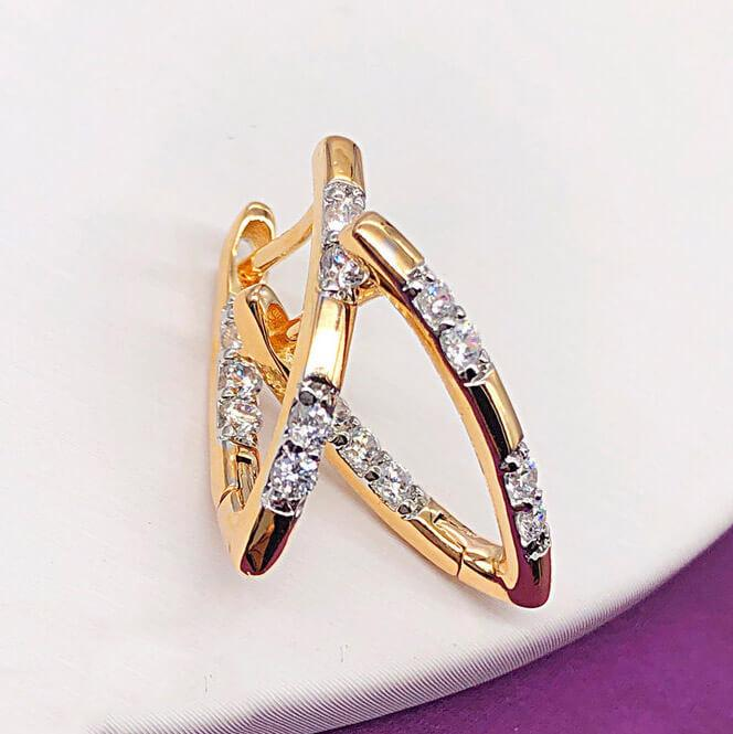 "Серьги Xuping Jewelry ""Амина"" медицинское золото, позолота 18К + родий английский замок. А/В 4243"