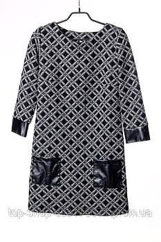 Платье женское акрил кожзам серое