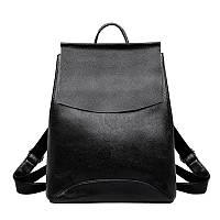 Рюкзак  женский городской кожаный с клапаном (черный)