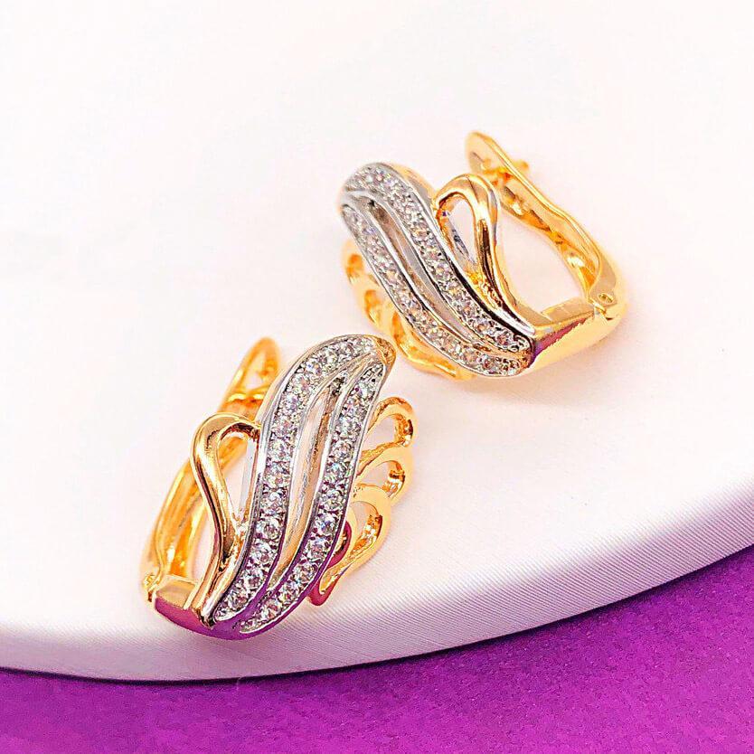 Серьги Xuping Jewelry Кейт медицинское золото, позолота 18К + родий английский замок. А/В 4246
