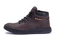 Мужские зимние кожаные ботинки Timberlend Zaragoza Brown (реплика), фото 1