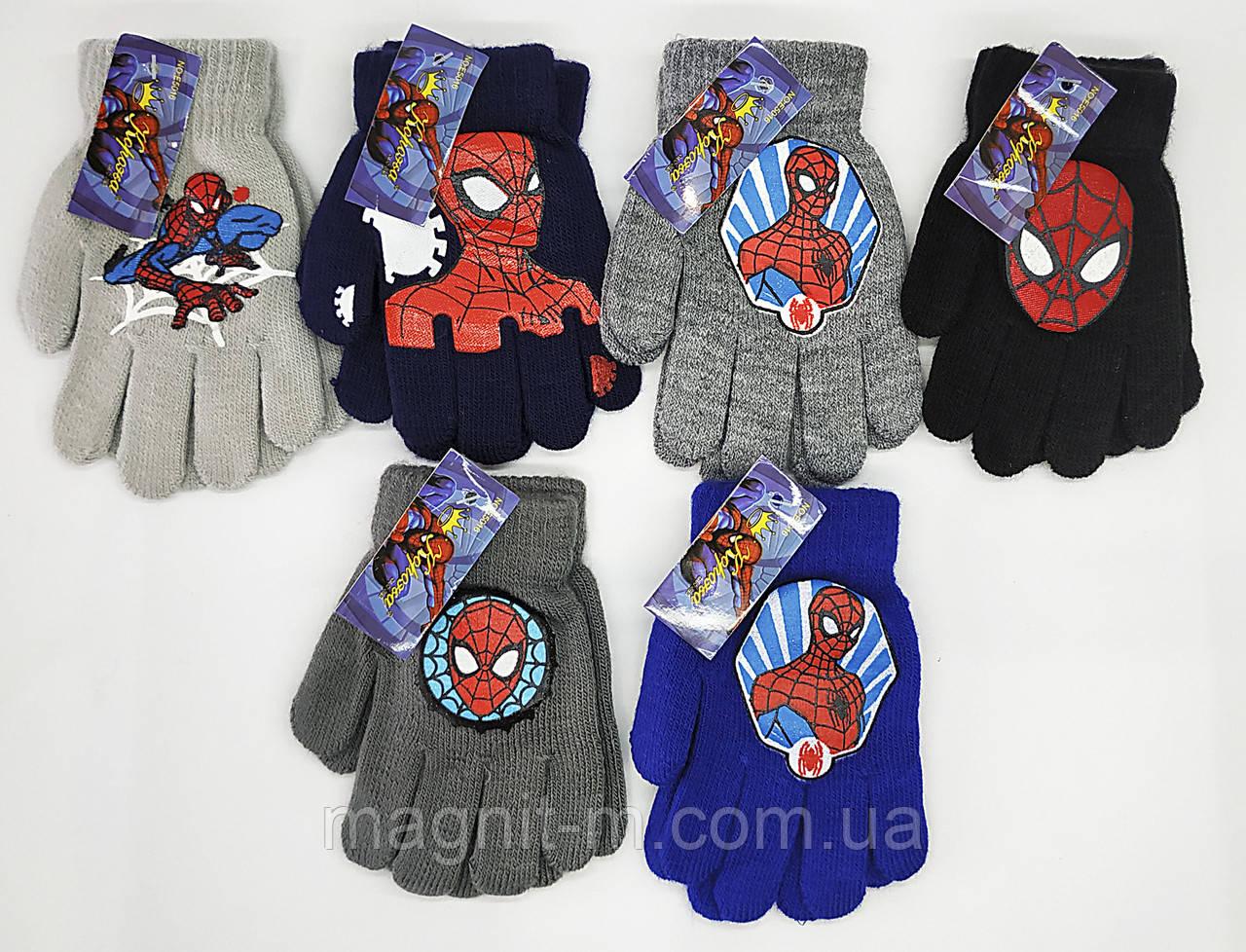 """Перчатки детские для мальчиков """"Корона"""". Человек Паук. Внутри начес. Размер S (3-4 года). E5016."""