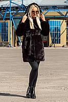 Шуба Шиншилла №18 с утеплителем черный