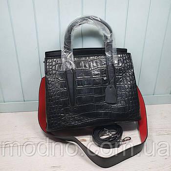 Женская кожаная сумка со структурой крокодила