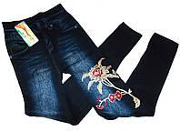 Лосины термо джинсовые с вышивкой на махре №604