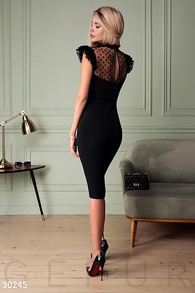 Вечернее приталенное платье миди прозрачная кокетка из сетчатой ткани с флоковым напылением цвет черный, фото 2