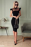 Вечернее приталенное платье миди прозрачная кокетка из сетчатой ткани с флоковым напылением цвет черный