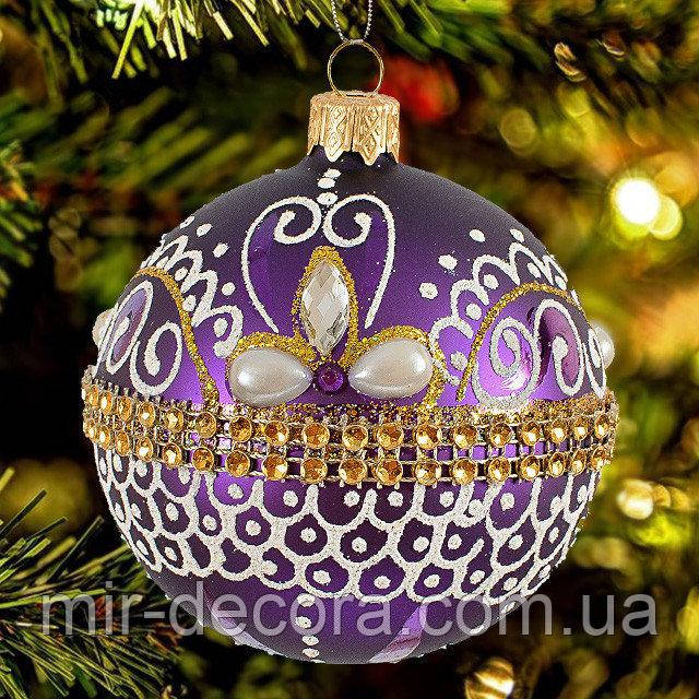 "Елочный шар с декором ""Корона"" 80 мм"