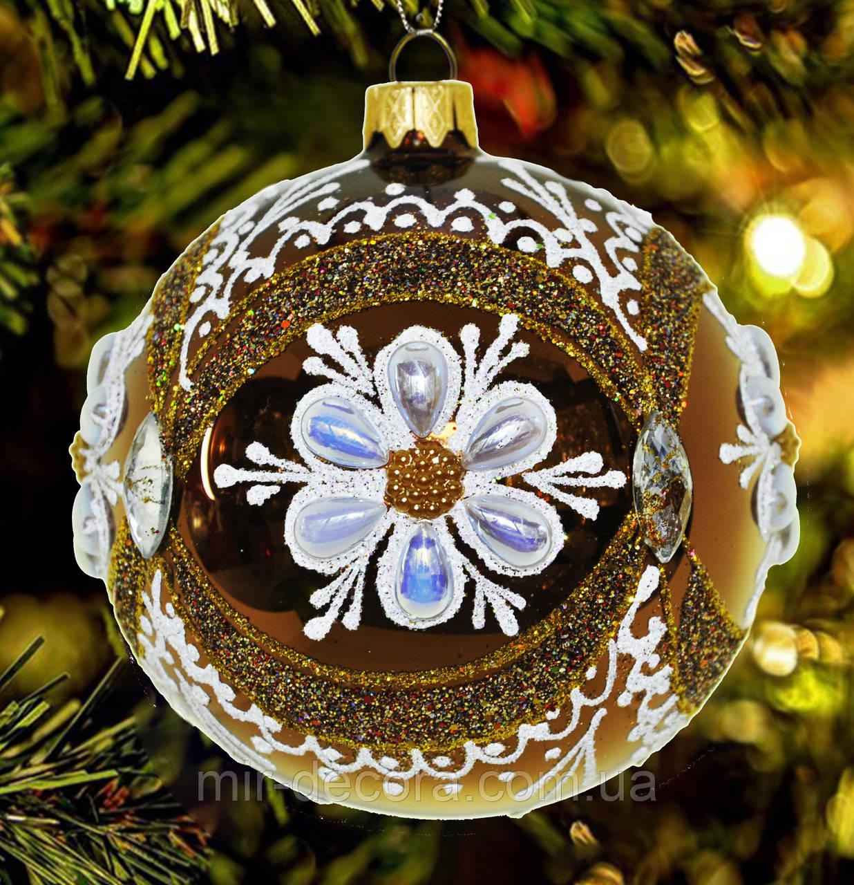 """Шар на елку """"Цветок в круге"""" 80 мм"""