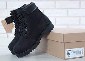 Женские ботинки Тимберленд на меху черного цвета зимние