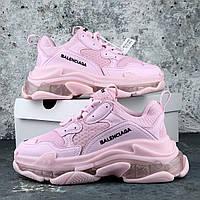 Кроссовки женские розовые стильные многослойная подошва Balenciaga Triple S Pink  Баленсиага Трипл С