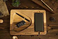 Подарок с гравировкой женщине мужчине на день рождения, Органайзер док станция из дерева ореха для смартфонов