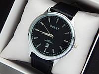 Чоловічі кварцові наручні годинники Orext (Орекст) на шкіряному ремінці, срібло, чорний циферблат - код 1580, фото 1