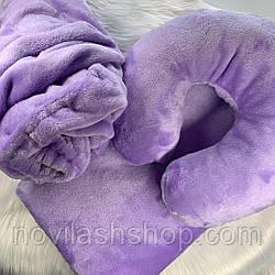 """Набор на кушетку """"3 в 1"""" плед,чехол,подушка .Сиреневый цвет"""