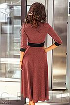 Деловое платье до колен два кармана по бокам и расклешенная юбка цвет красно-черный, фото 3