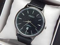 Мужские кварцевые наручные часы  Orext (Орекст) на кожаном ремешке, черного цвета - код 1581, фото 1