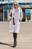 Шуба Шиншилла №21 с утеплителем серый
