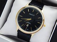 Мужские кварцевые наручные часы  Orext (Орекст) на кожаном ремешке, золото, черный циферблат - код 1582, фото 1