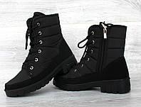37 р Зимові жіночі черевики напівчоботи на блискавку і шнурівку  (Пр-3406ч)