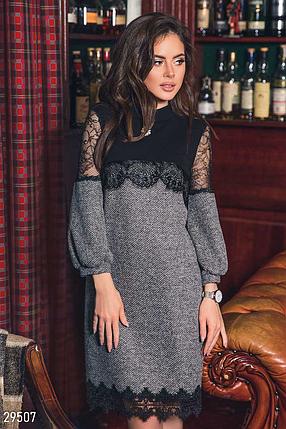 Изящное платье-мини с аккуратным воротником-стойкой цвет серый, фото 2
