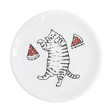 Тарелка подарочная керамическая Кот и пицца 25 см